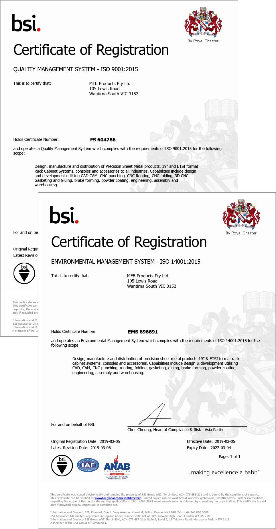 MFB BSI Certificates